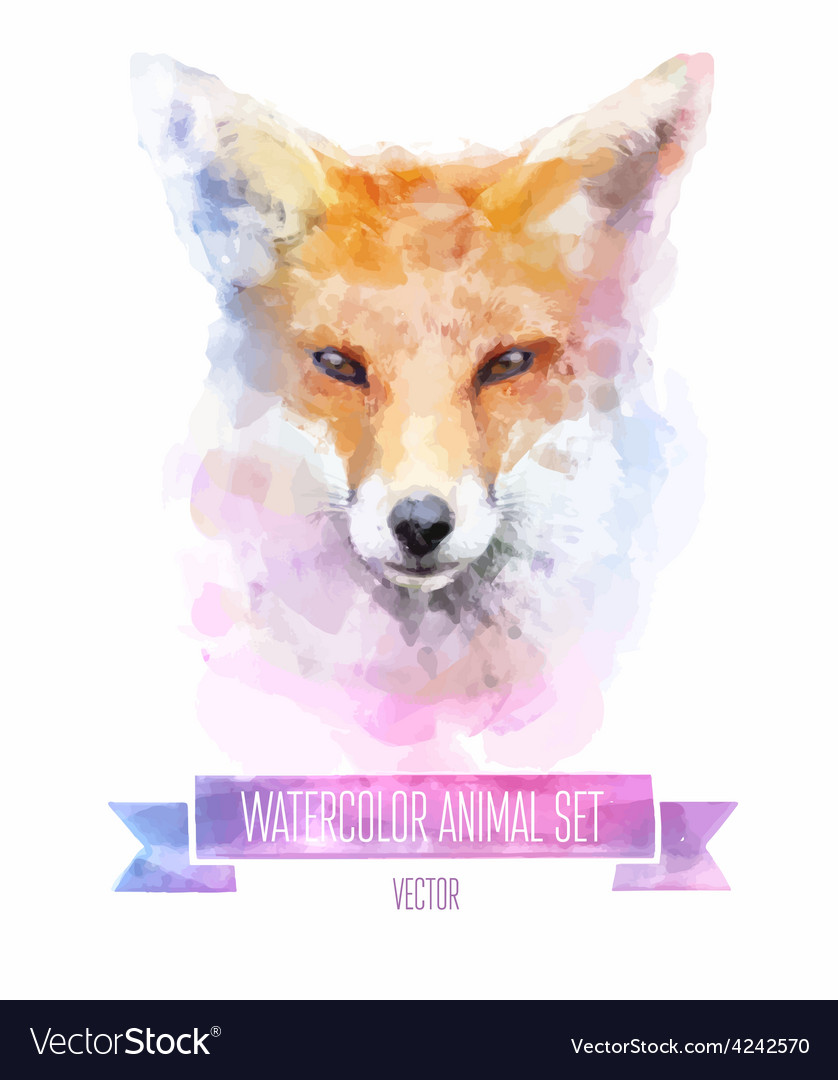 Set of watercolor  cute fox vector