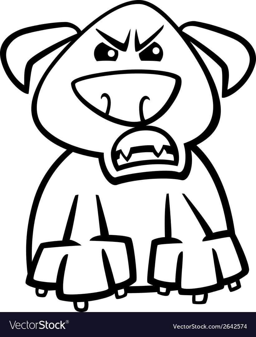 Furious dog cartoon coloring page vector