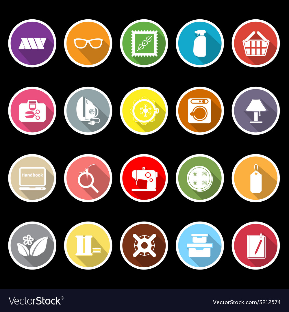 Sewing cloth related flat icons with long shadow vector
