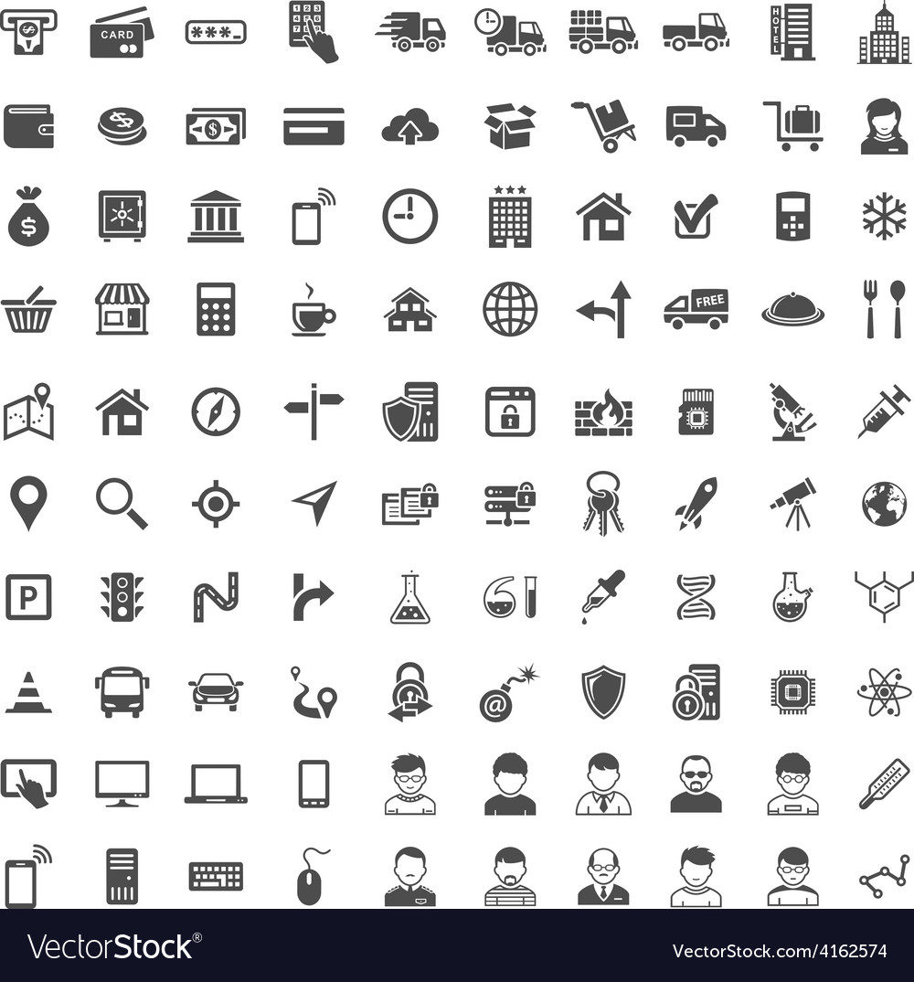 Universal icon set 100 icons vector