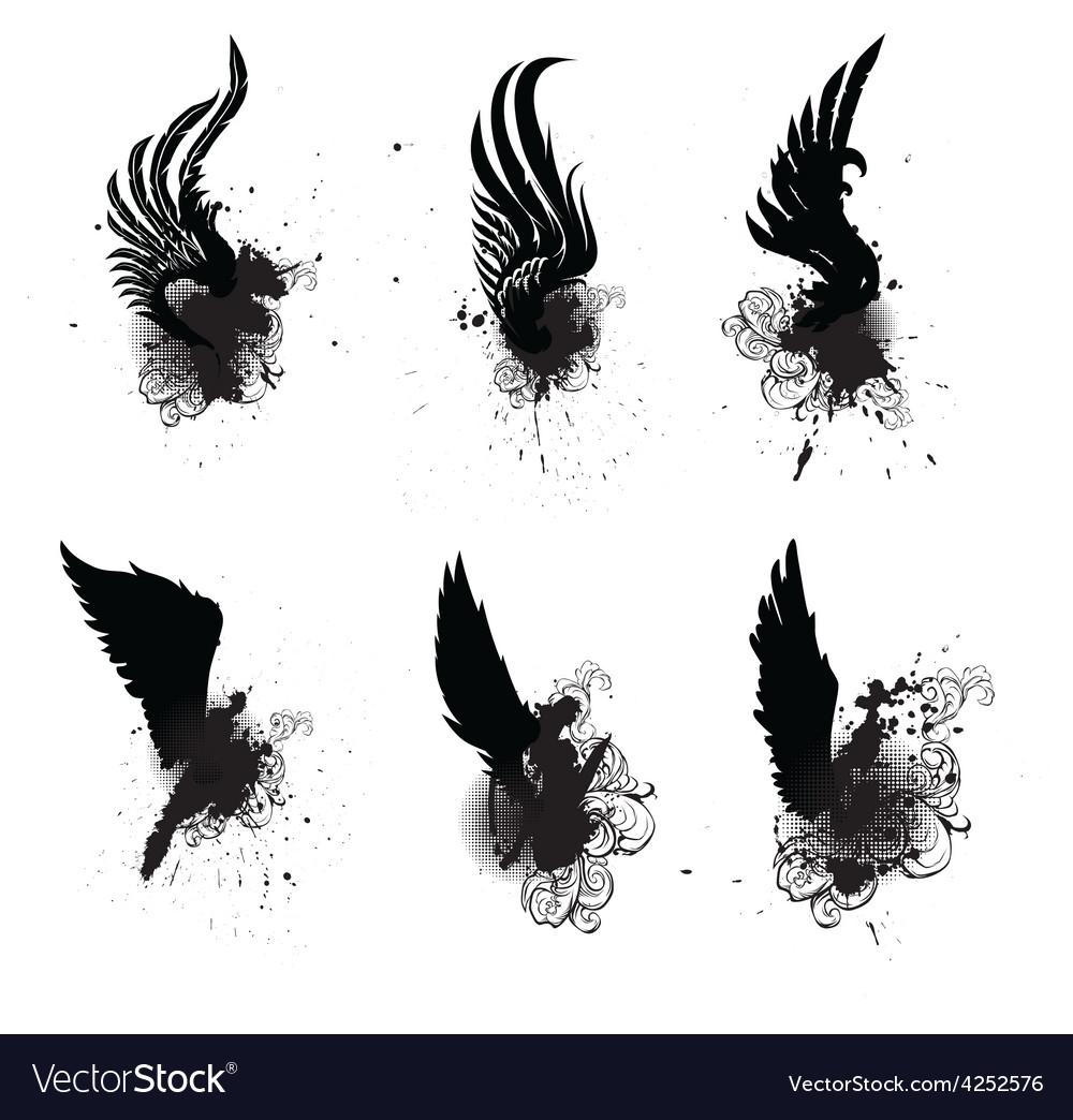 Wings grunge set vector