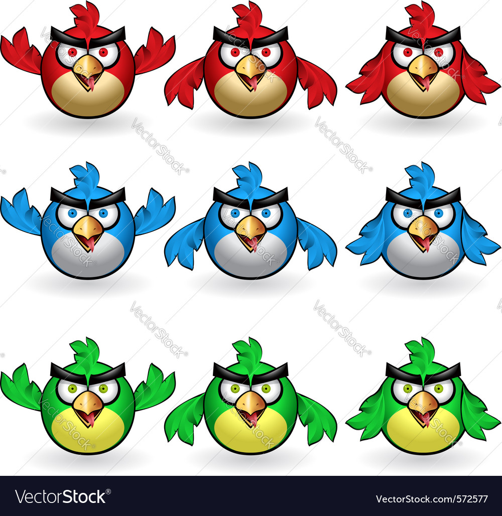 Angry owls set vector