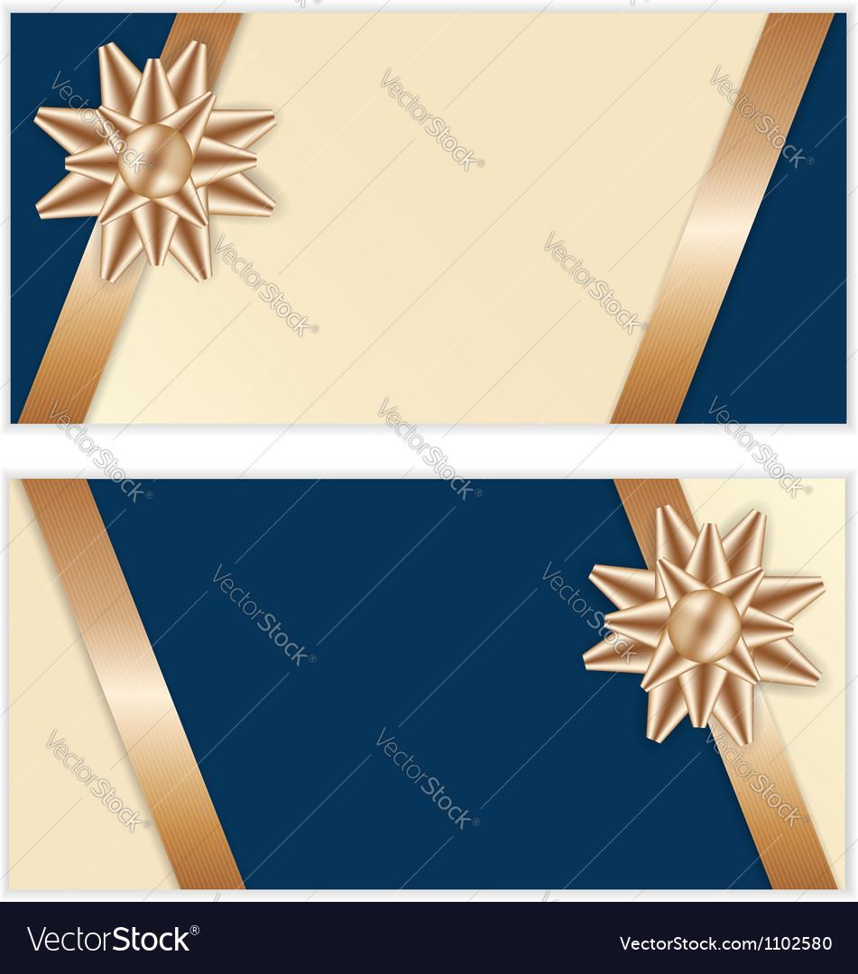 Festive golden bow blue banners vector