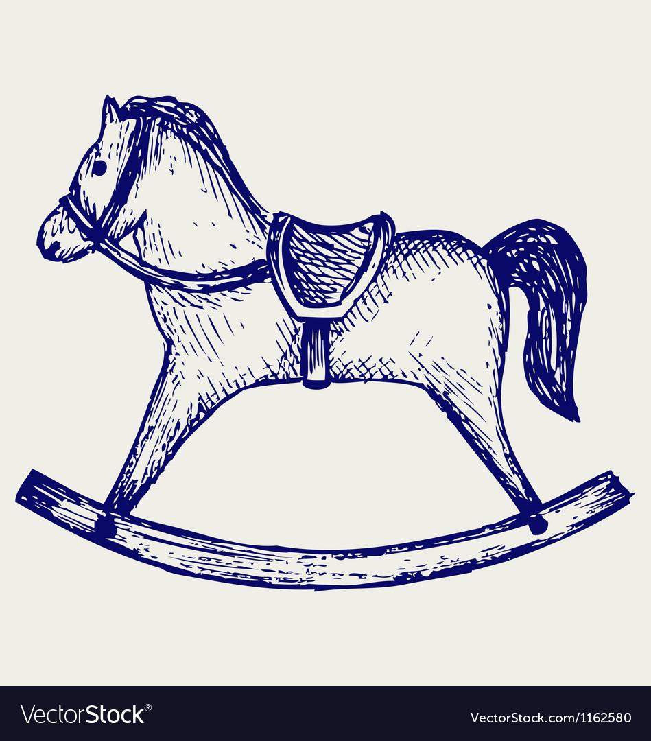 Wooden rocking horse vector
