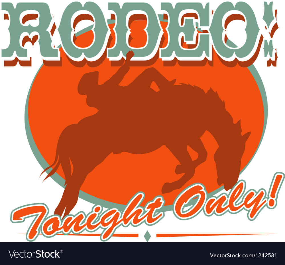 Rodeo tonight only vector