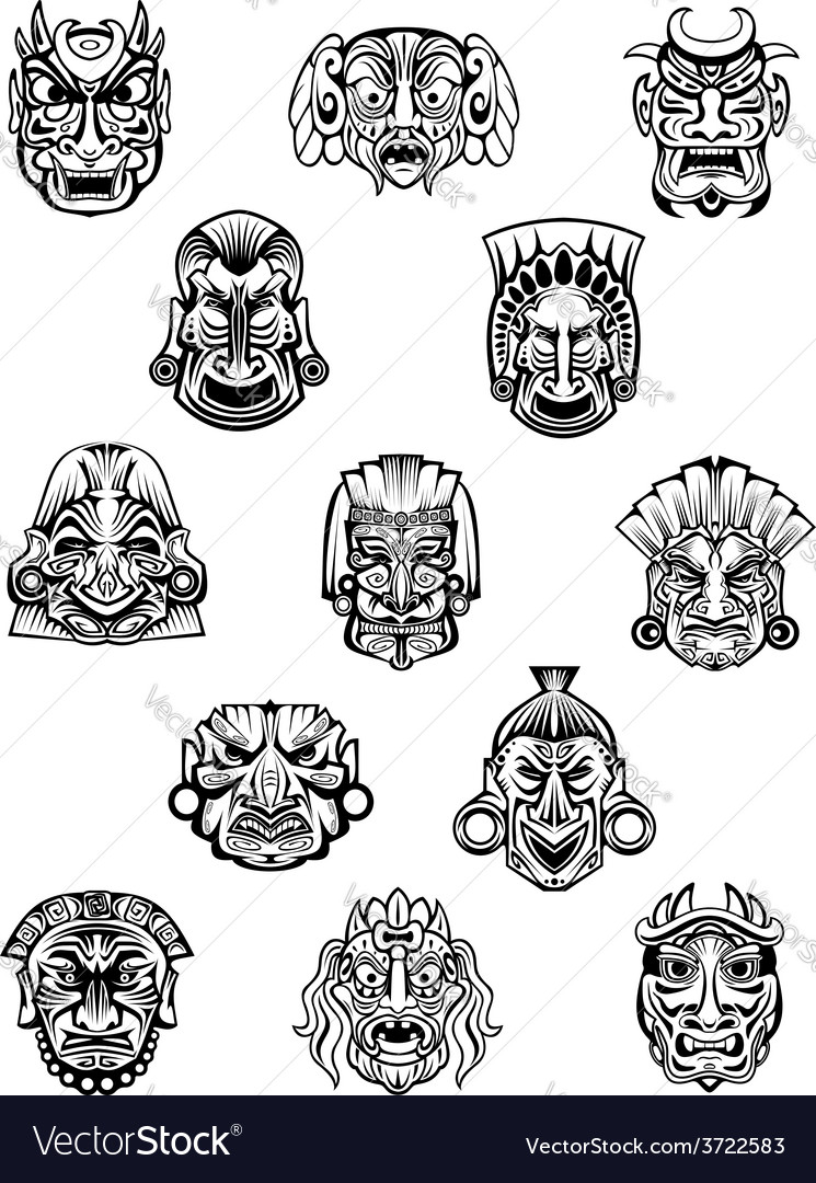 African ritual ceremonial masks in outline style vector