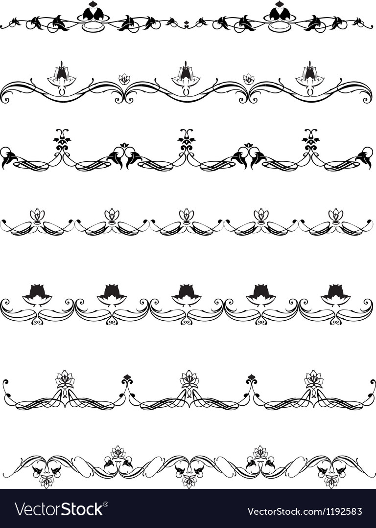 Set of calligraphic design elements and page decor vector