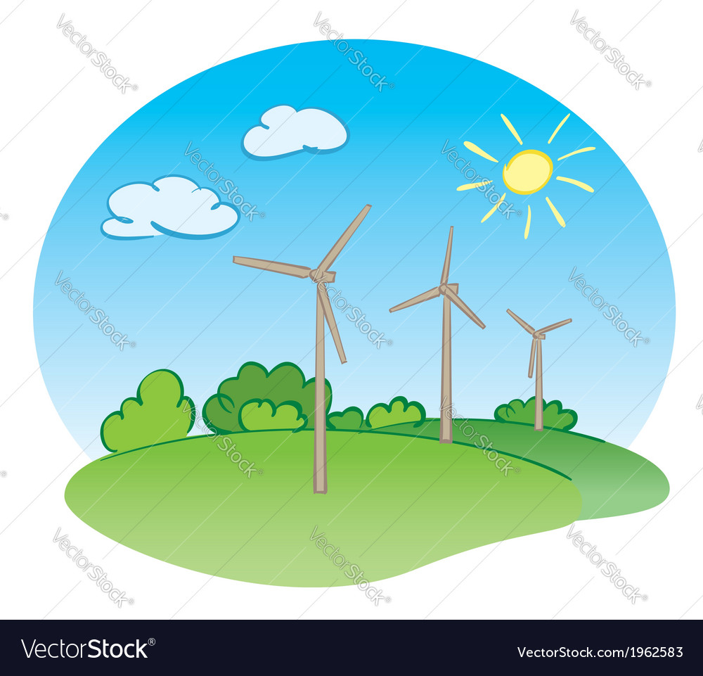 Wind power turbines and green nature with sun vector