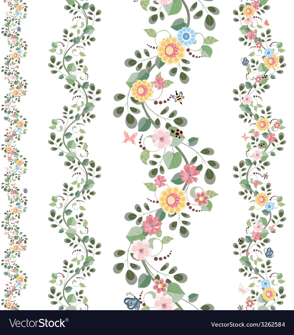 Floral set seamless borders for your design vector
