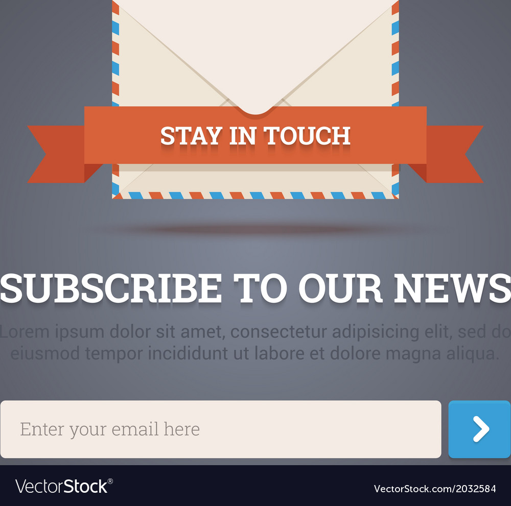 Newsletter template - subscription form vector