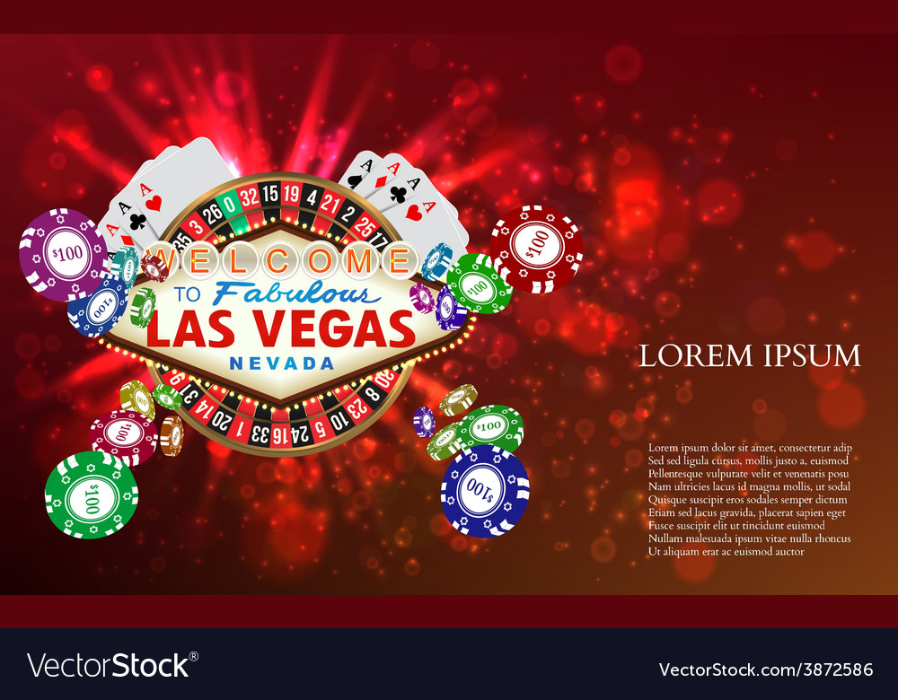 Casino roulette playing cards witn falling chips vector