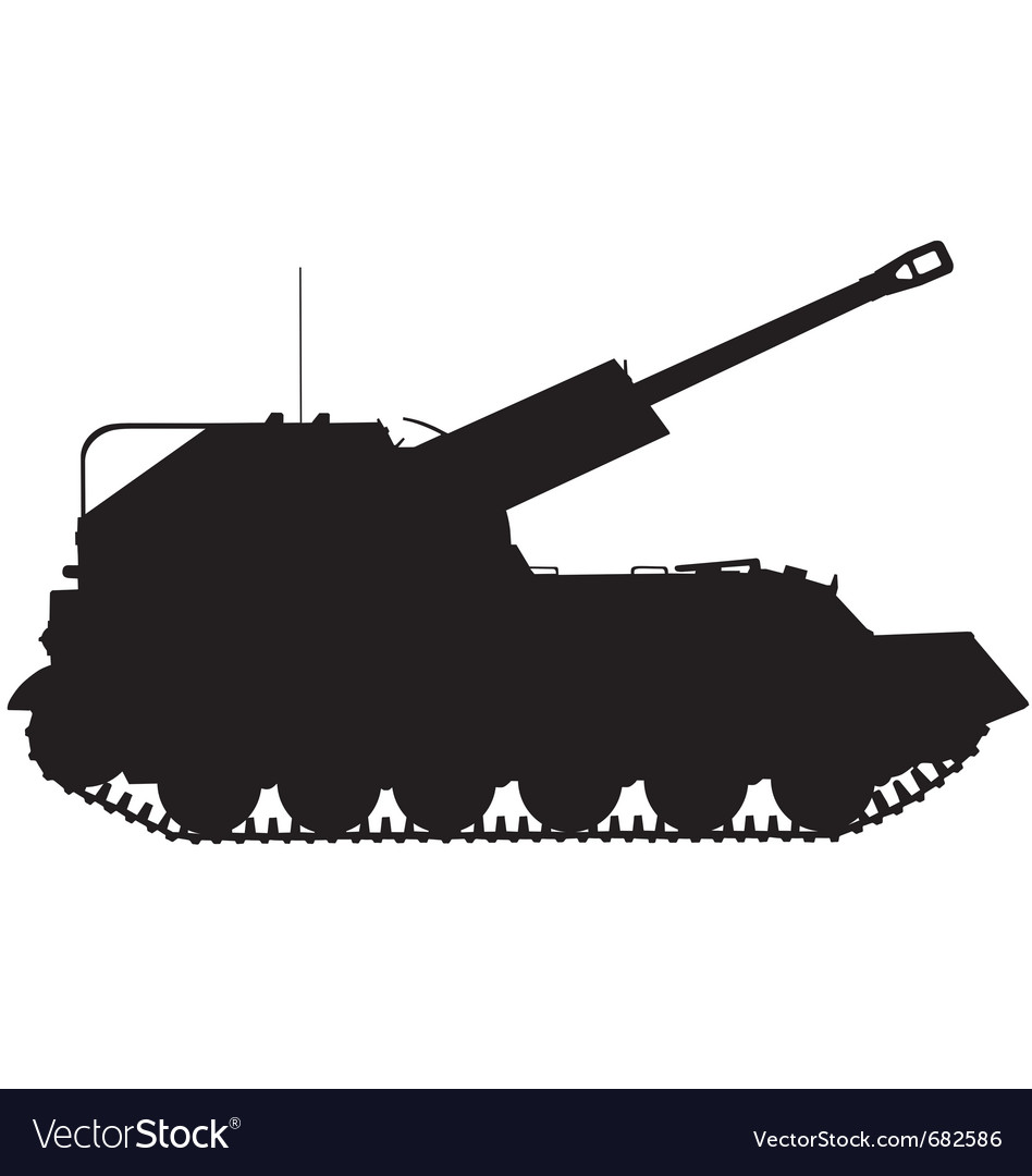 Self propelled artillery gun silhouette vector