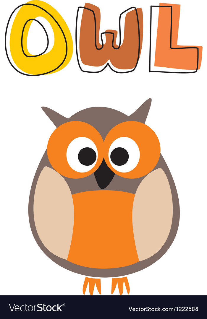 O is for owl - owl under school hand drawn word vector