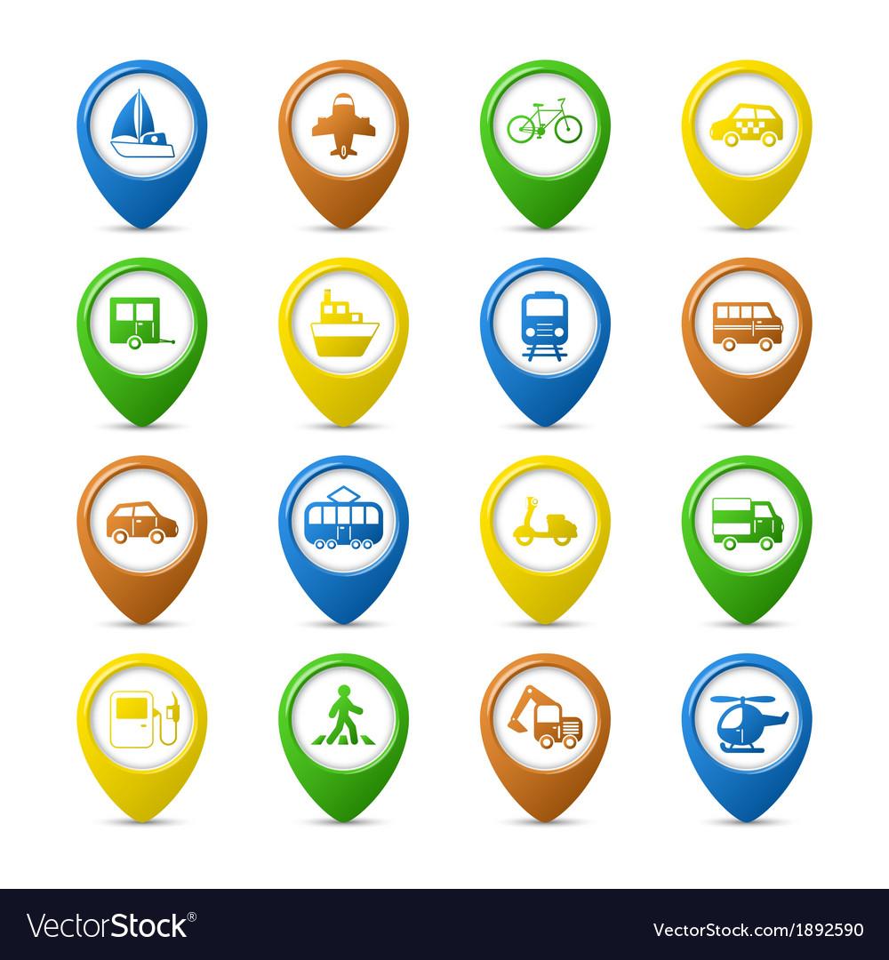Navigation pins set vector