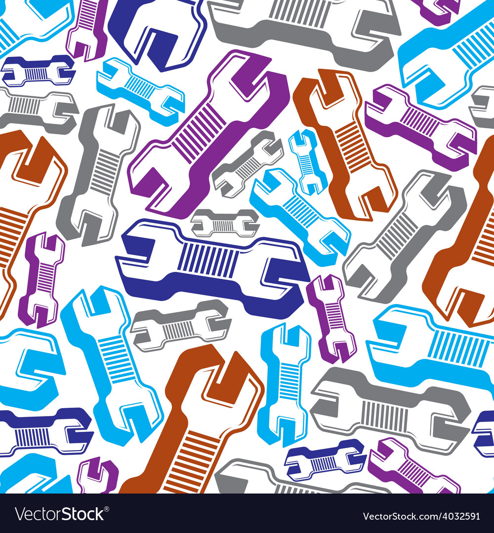 Continual background with classic wrenches work vector