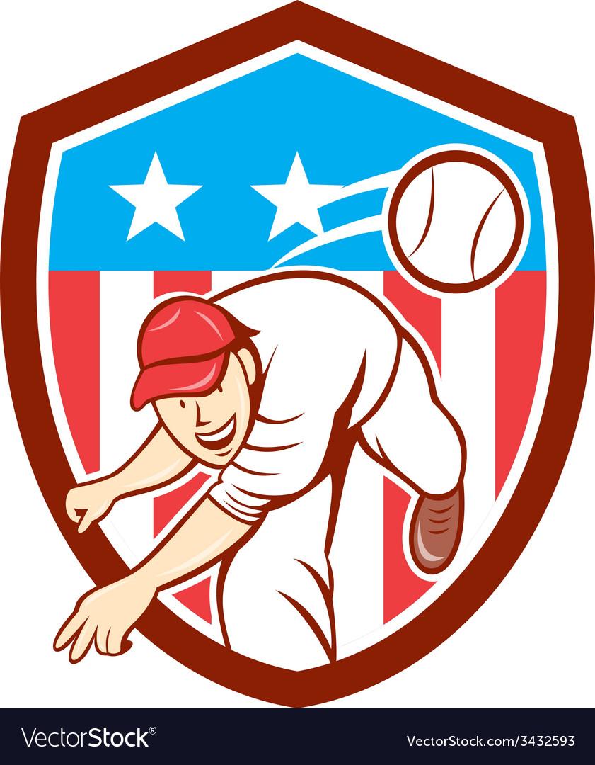 Baseball pitcher outfielder throwing ball shield vector