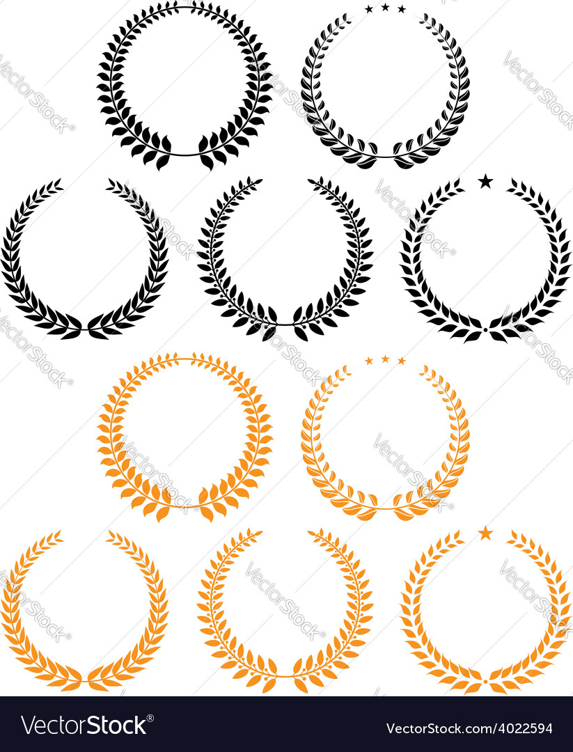 Laurel wreaths with stars design elements vector