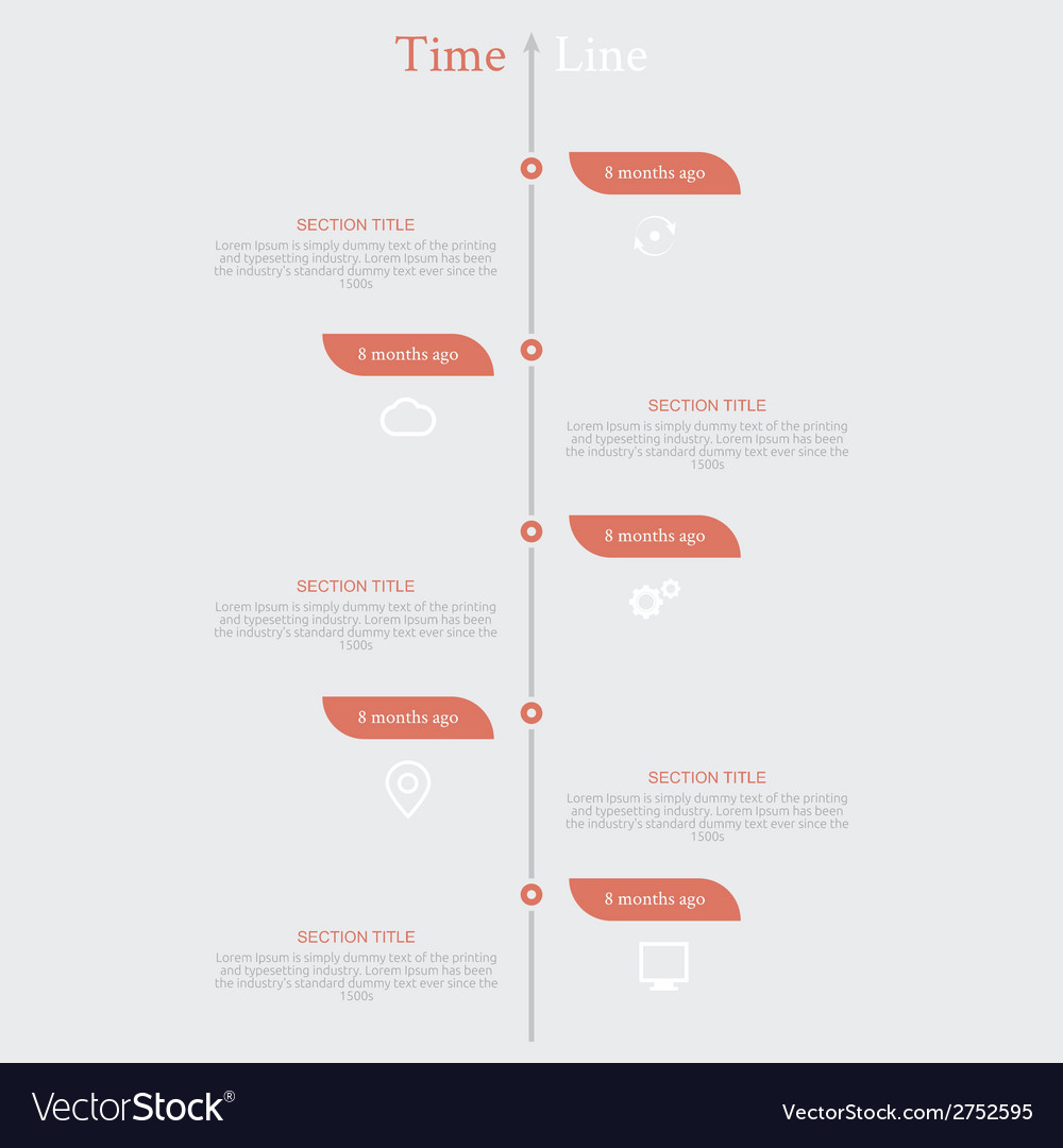 Timeline infographic with diagram and text vector