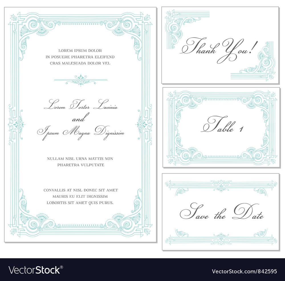 Vintage wedding frame set vector
