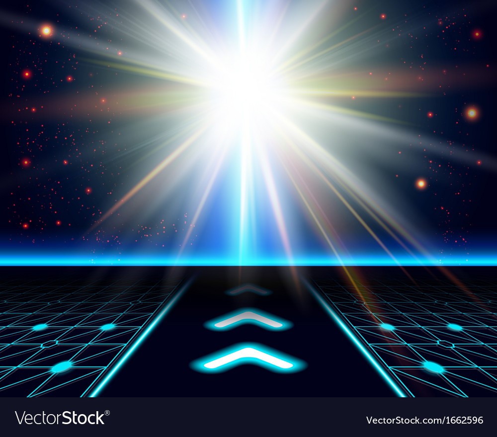Bright sun burst fantasy cosmic background vector