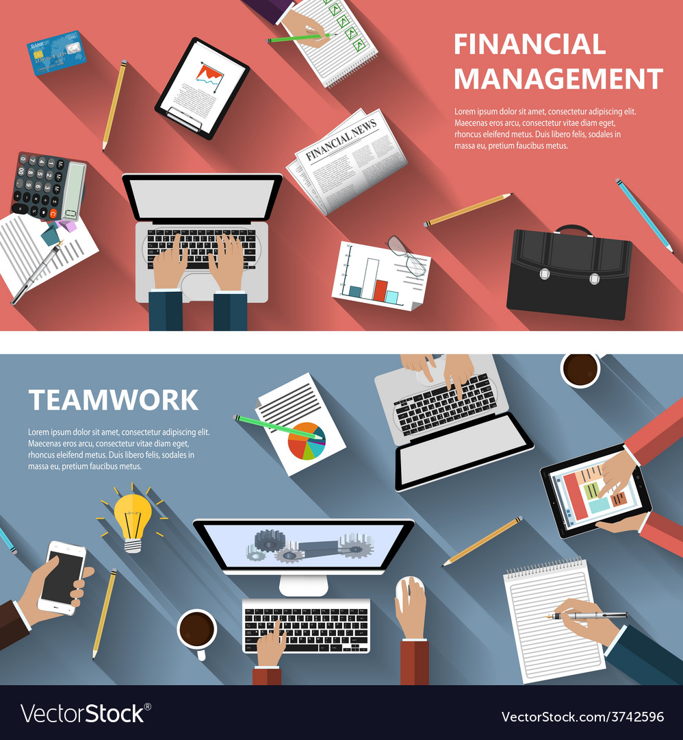 Financial menagement and teamwork concept vector