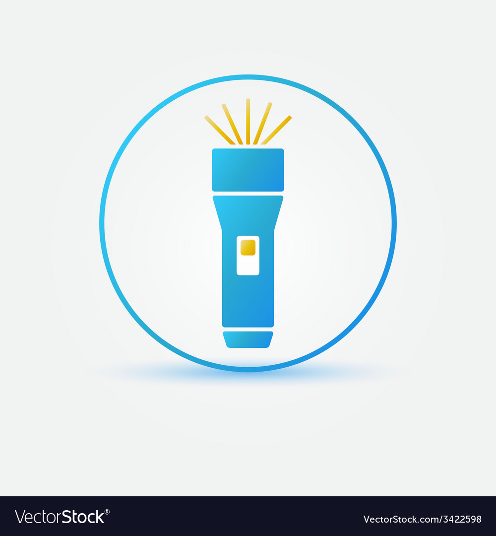 Bright flashlight icon vector