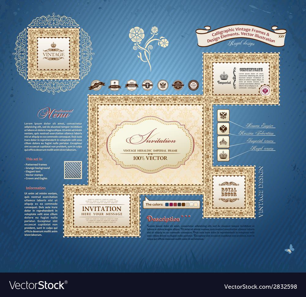 Calligraphic vintage frames and design elements vector