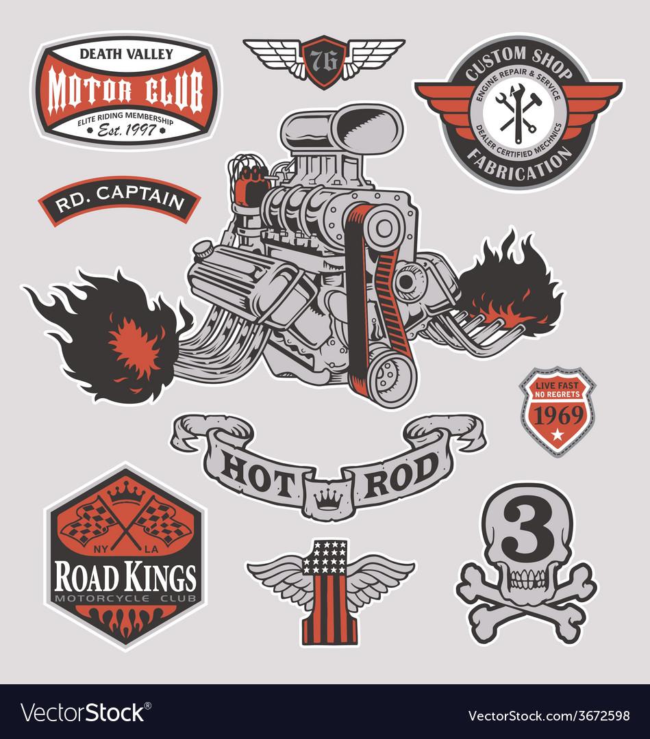 Hot rod motor engine racing set vector