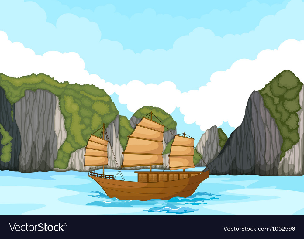Ship sailing in water vector
