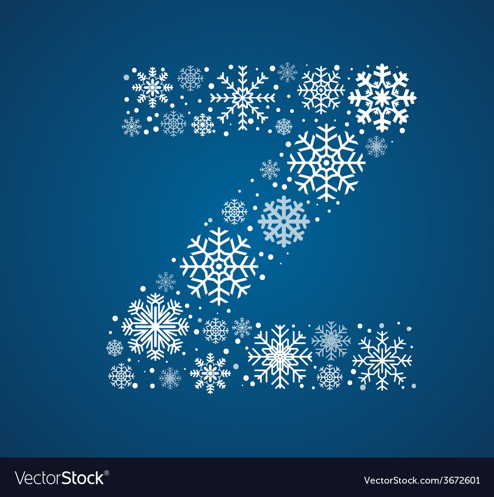 Letter z font frosty snowflakes vector