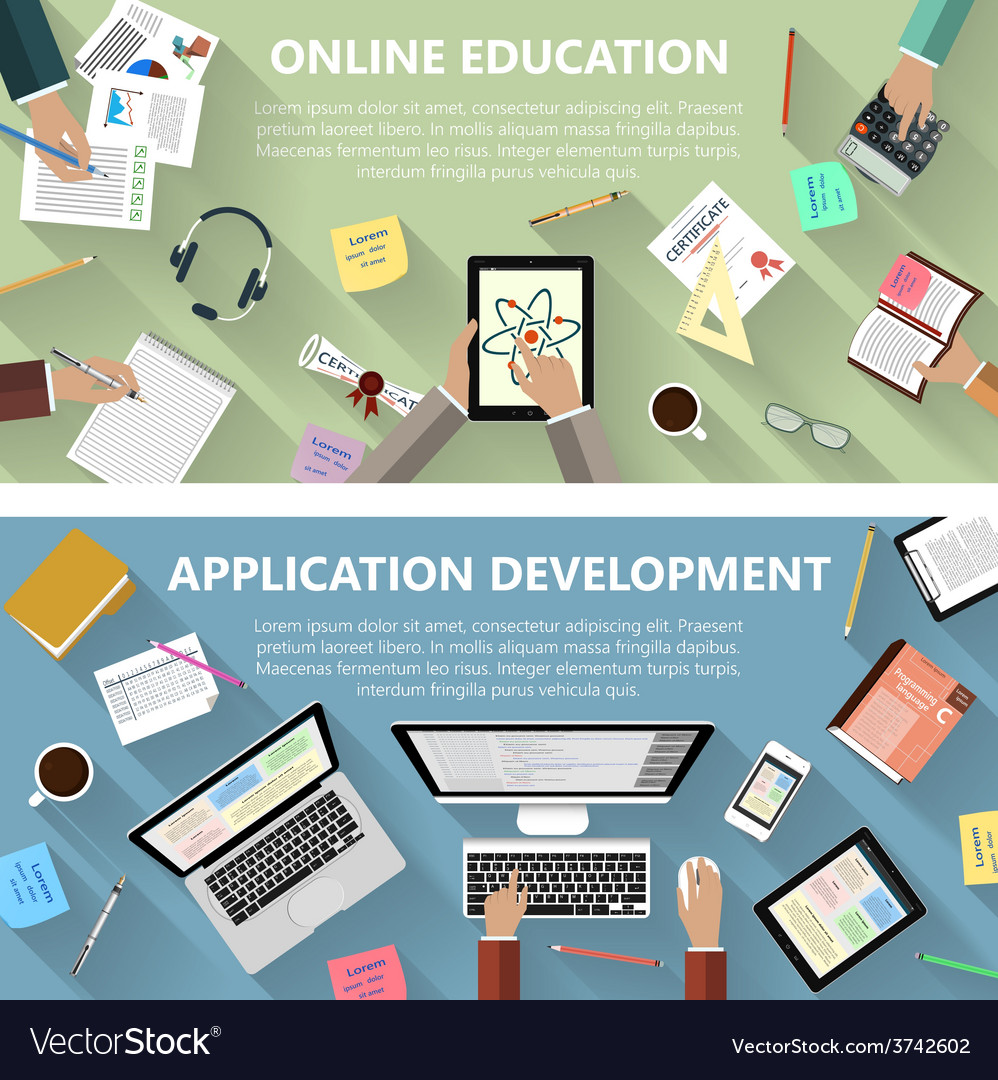 Online education and app development concept vector