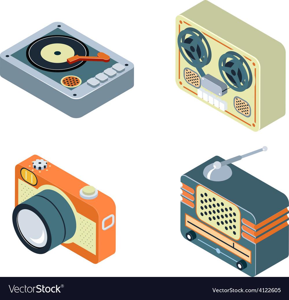 Retro media radio reel tape recorder turntable vector