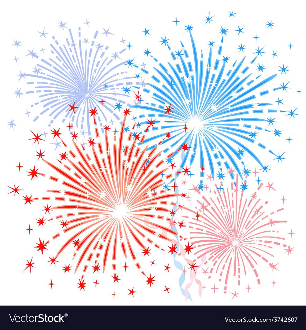 Red blue fireworks vector