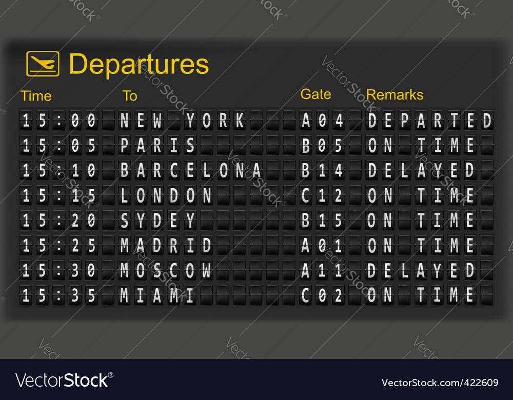 Mechanical departures board vector