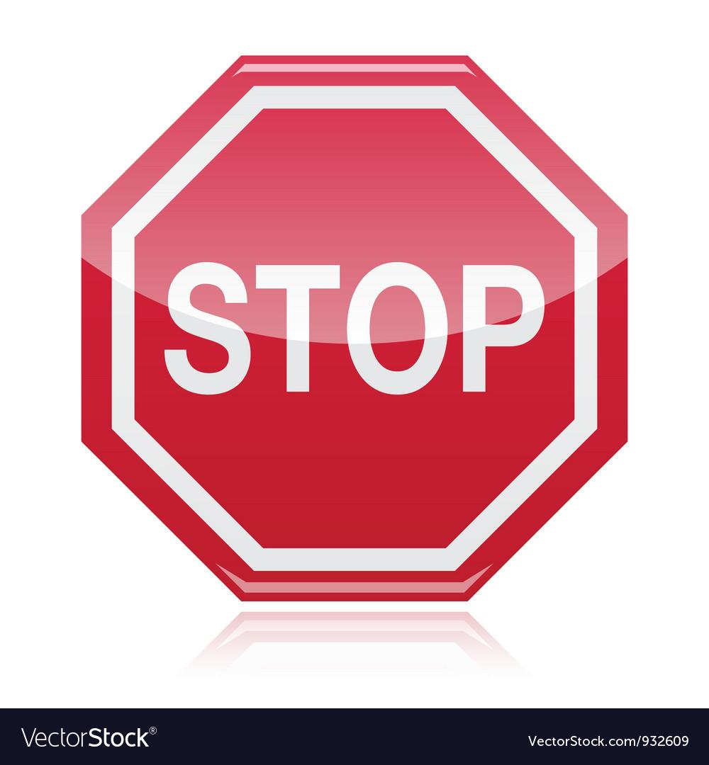 Stop warning road sign vector