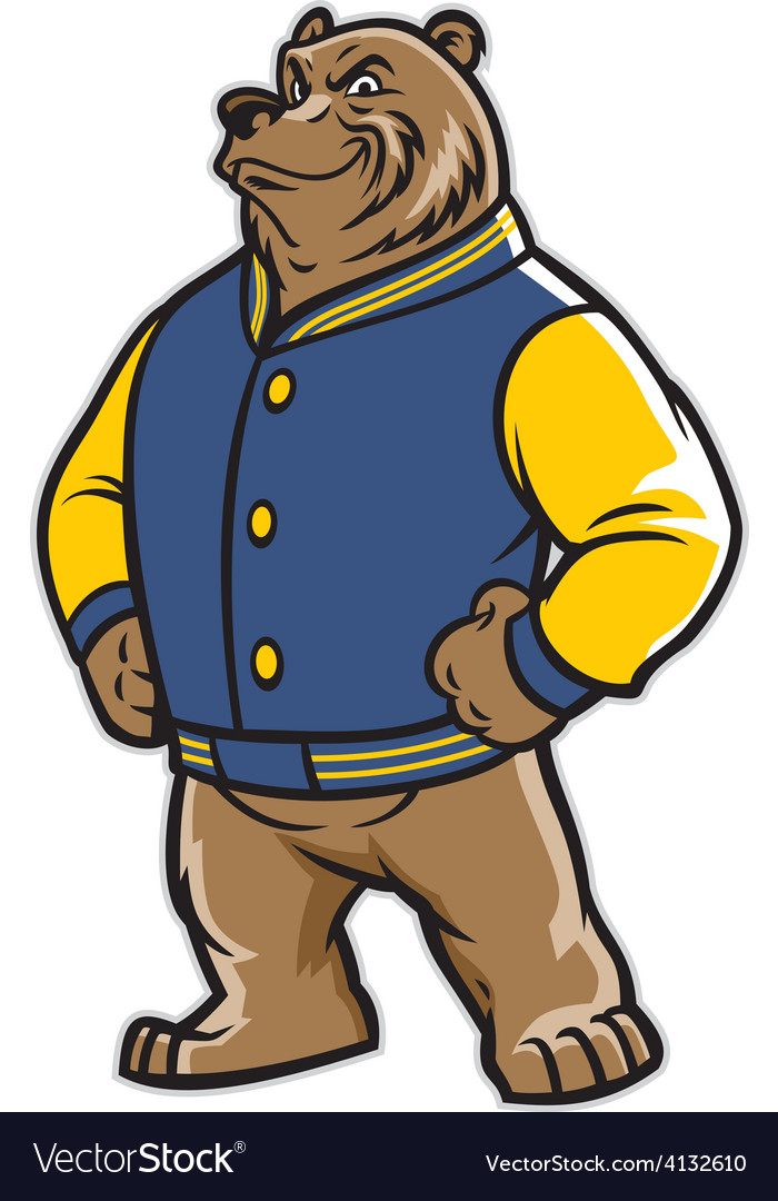 Bear school mascot wear varsity jacket vector