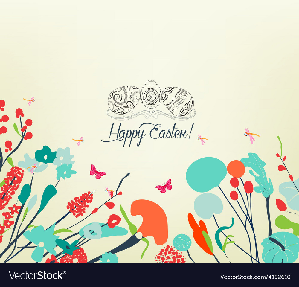 Blossom into easter eggs vintage vector