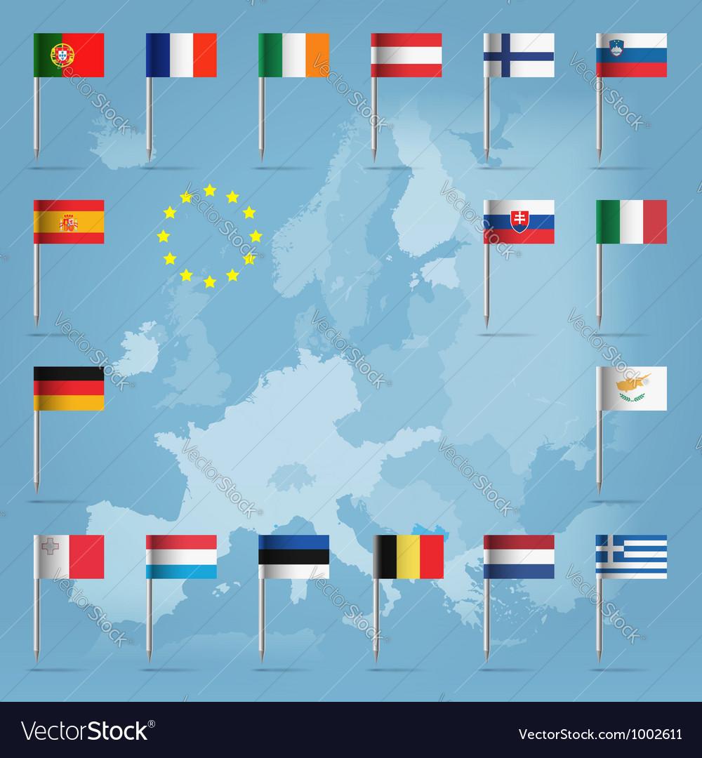 Eu countries flag pins over european map vector