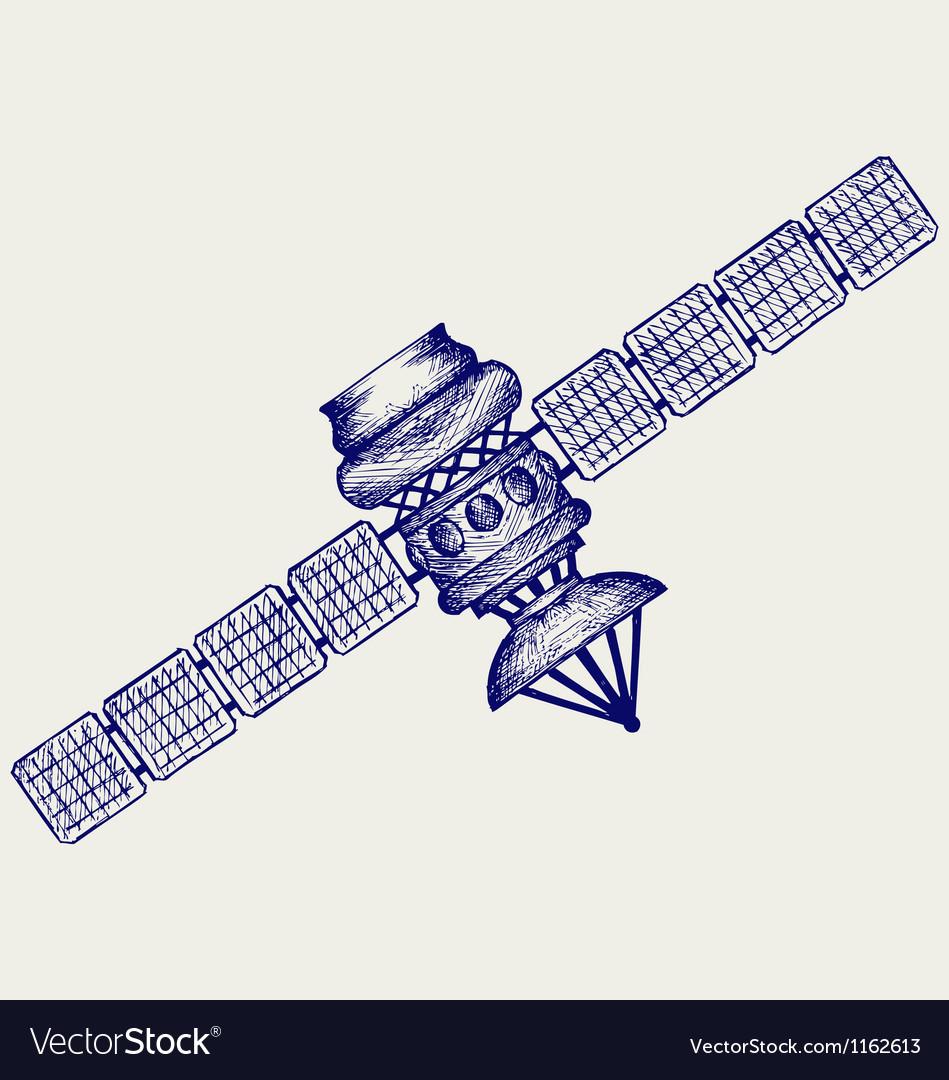 Satellite with dish antenna vector