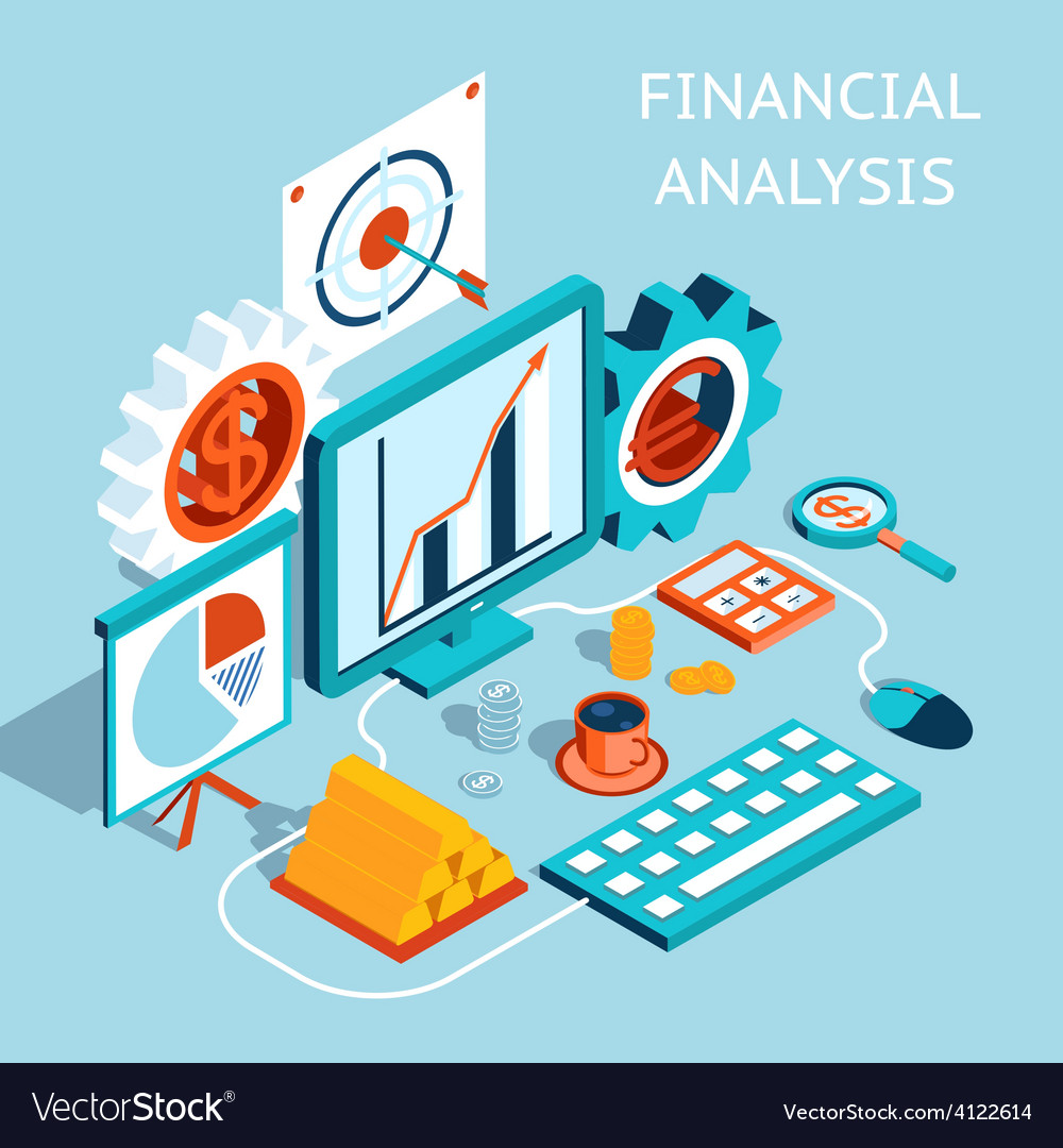 3d financial analysis concept design vector
