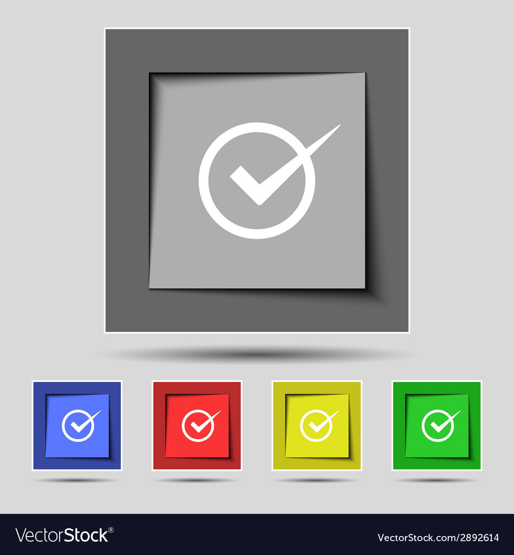 Check mark sign icon checkbox button set colur vector