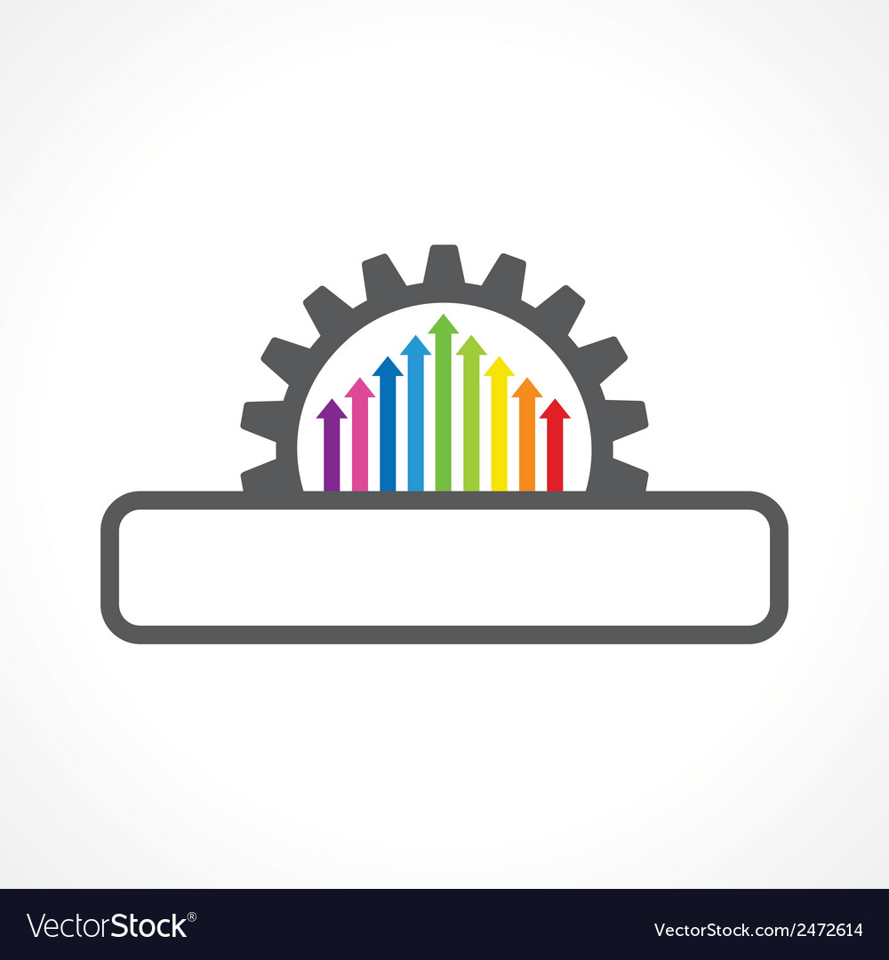 Colorful arrow inside the gear with copyspace stoc vector