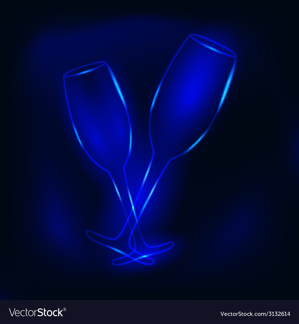 Glass of champagne neon vector