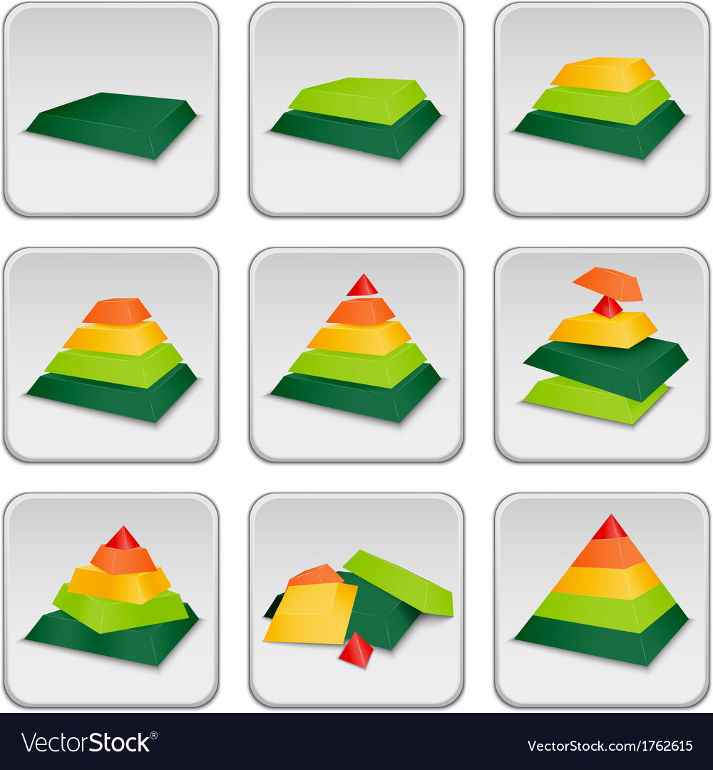 Pyramid status indicator icons vector