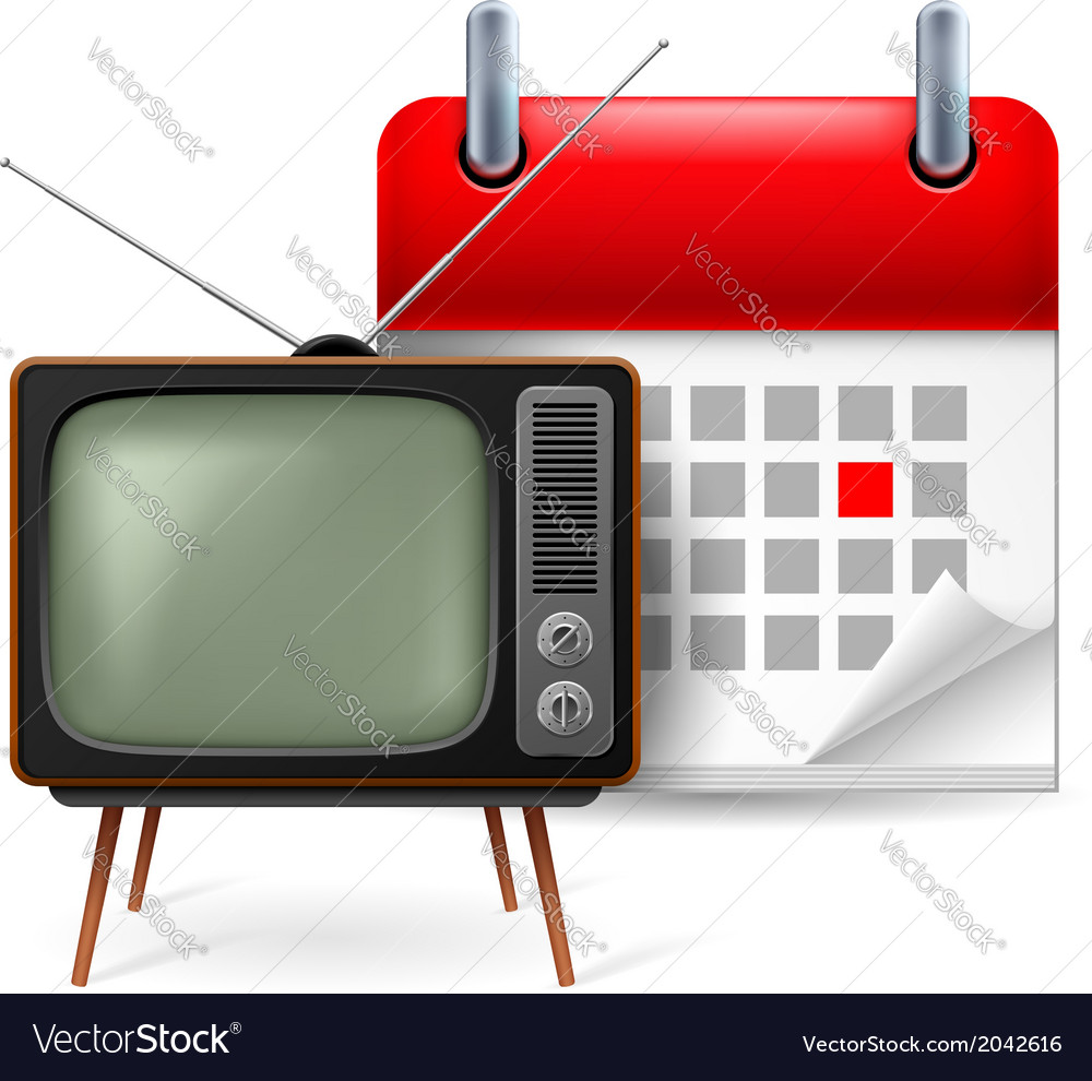 Old tvset and calendar vector