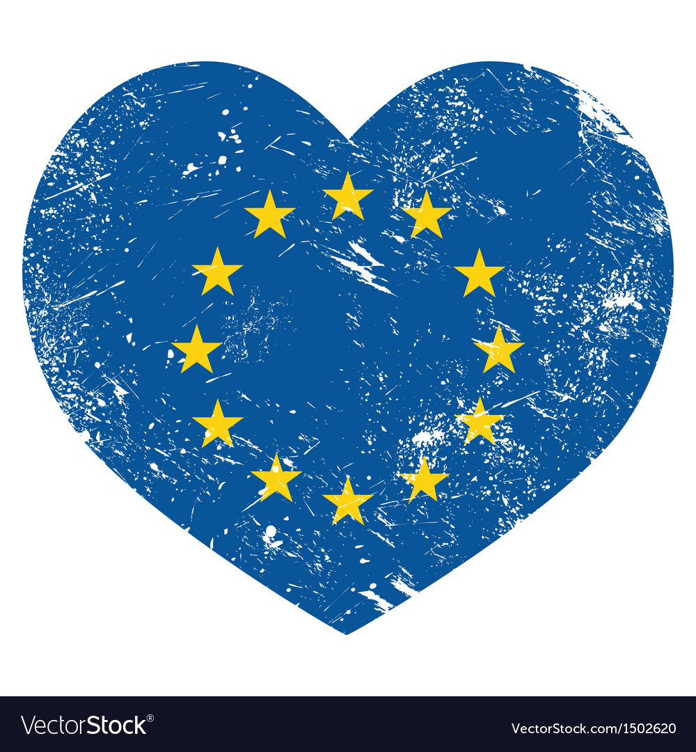 Eu i love european union heart retro flag vector