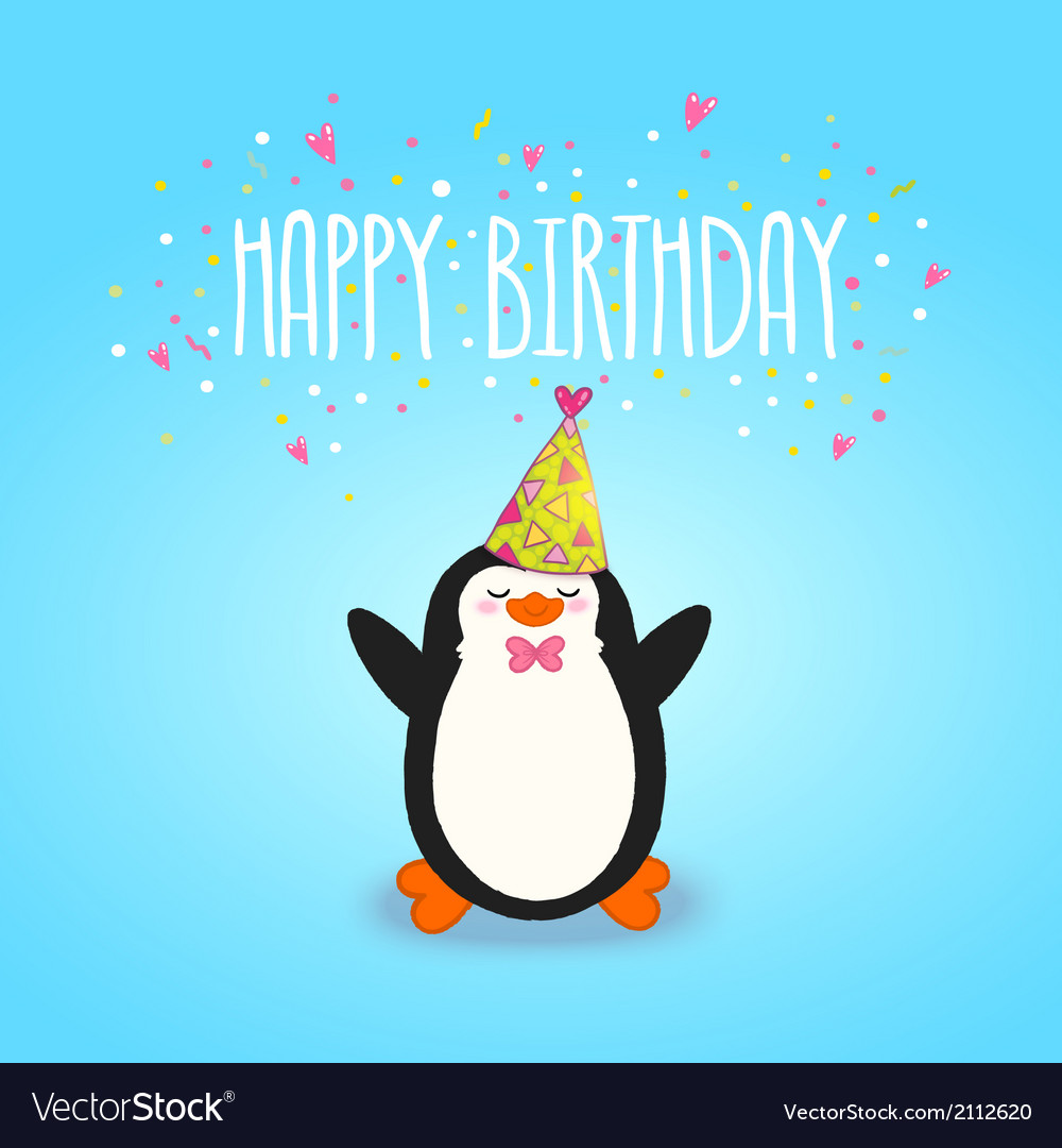 Happy birthday card background with cute penguin vector