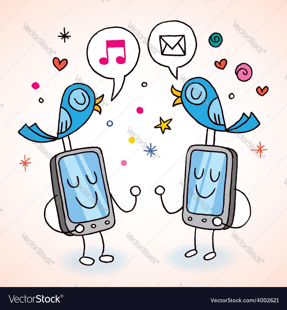 Cell phones tweeting vector