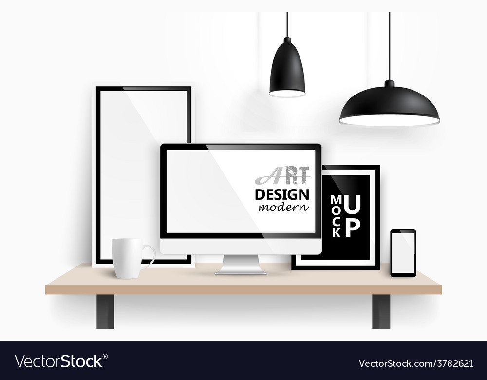 Modern workspace design vector