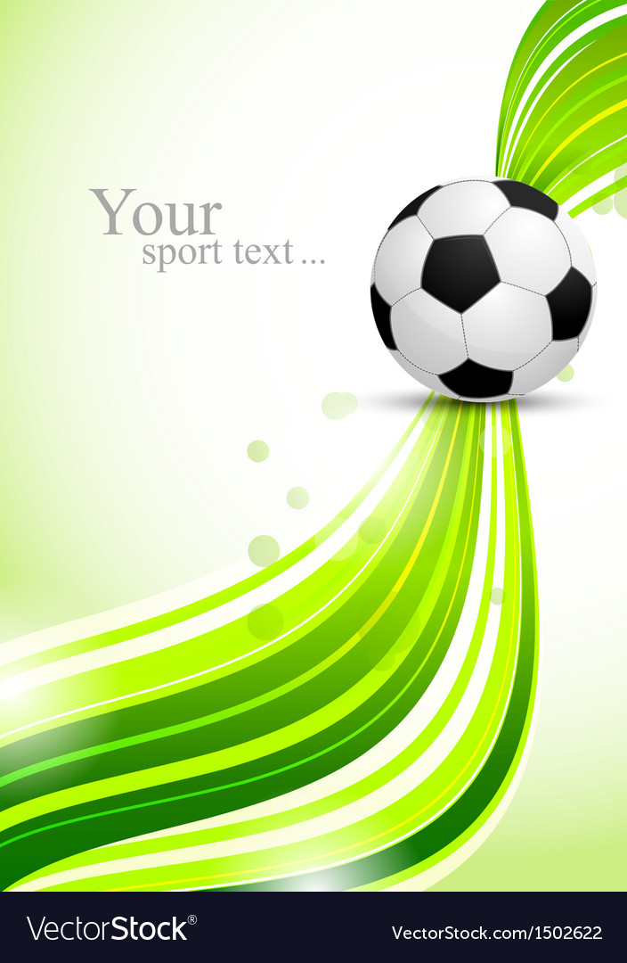 Soccer ball on green wavy background vector